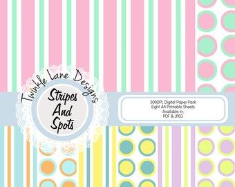 Stripe and Spots, Digital Paper Pack, Stripes Background, Dots Background, Striped Paper, Vibrant Digital Paper, Vertical Lines, Polka Dots