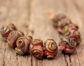 Mini Swirlies-A set 10 handgefertigte Glasperlen