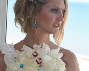 Beach Destination Wedding Earrings, BlueGreen, MERMAID,  Bauble Cluster Pearl Crystal Semi Precious, Original Hand KNIT, Sereba Designs
