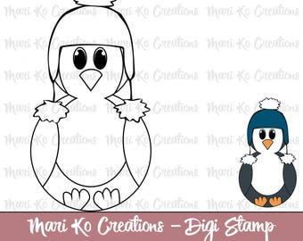Roly Poly Penguin Digital Stamp 300 dpi png