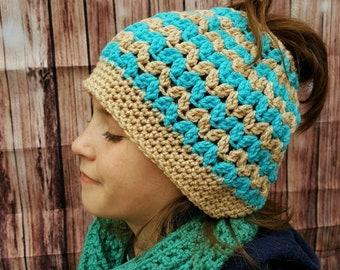 Messy Bun Ponytail Hat Handmade Beige/Teal Crochet