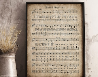 Blessed Assurance Print, Printable Vintage Sheet Music, Instant Download, Antique Hymn, Inspirational, Scrapbook Collage, Christian Art