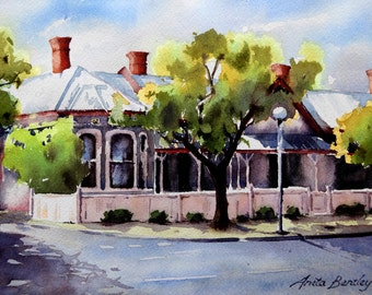 "Original watercolour painting ""Halifax Street, Adelaide, SA"""