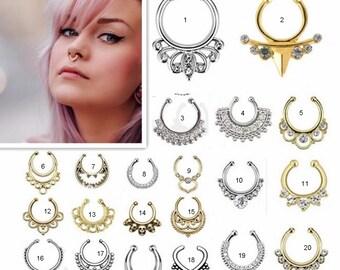 FREE SHIPPING Fake Septum Rings, Nose Ring Fake Septum Ring without piercing Septum Cuff, Septum Clip Nose Ring, BOHO Jewellry