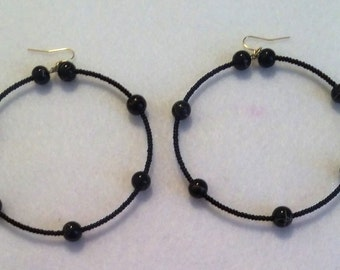 Black Earrings with Gold Designs