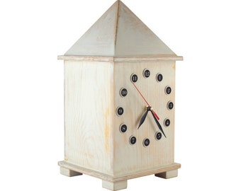 Wooden White clock, Desk Big clock Huge 15 inch high, Unique Distressed clock, Table clock, Wedding gift, Shabby chic decor, Cottage style