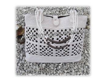 Beige crochet handbag