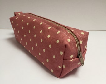 handmade cotton fabric pencil case/makeup bag/storage bag