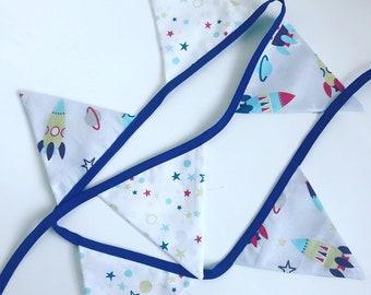 Garland 6 blue fabric flags / space and rockets