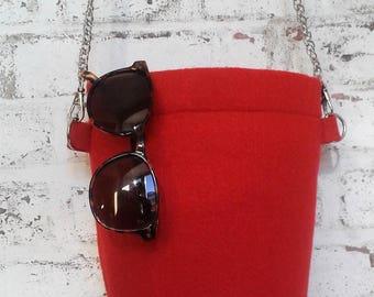 red wool felt clutch handbag