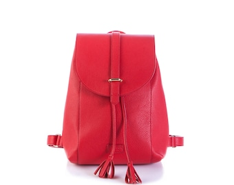 Classic City red leather backpack with interchangeable flap