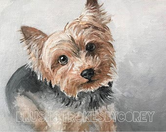 Yorkie Yorkshire Terrier Art Puppy Dog Original Acrylic Painting on Canvas Board