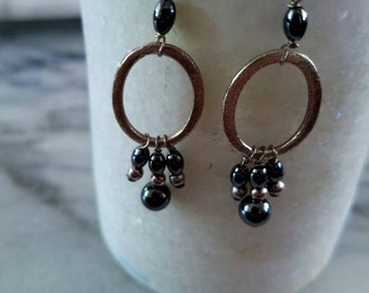 black and silver hematite bead earrings