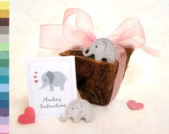 25 Seed Paper Elephant Baby Shower Favors - with Pots - Plantable Elephant Seed Paper Baby Pink and Baby Blue - Gender Neutral