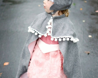 Girls Cape Pattern, Sew Princess Cape, PDF Sewing Pattern, Girls Cape Sewing, Princess Anna Cape, Child Clothes Sewing, Princess Anna Hat