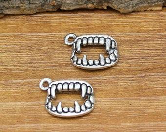40pcs Fangs Charms Antique Silver Vampire Teeth Charm Pendant 17x13mm C2937-Y