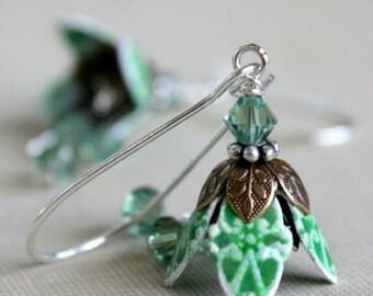 Bridesmaid Earrings, Jewelry, Green Flower Earrings, Crystal Earrings, Petite, Spring Wedding, Modern Bride, Gift For Her, Romantic