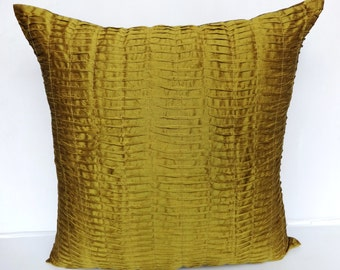 Moss green euro  sham. Olive  green pintuck floor pillow. Silk pleated cushion cover.  26 inch euro sham. On sale 20 % discount.