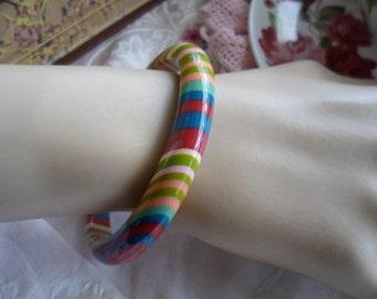 Multi colour Mod Retro vintage striped resin Modernist bangle signe Missoni