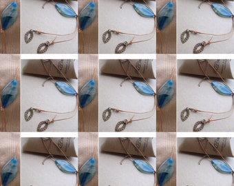Agate Copper YNecklace, Handmade Gemstone YNecklace, Blue Agate YNecklace, Edinburgh Jewellery Designer, OOAK Necklace,