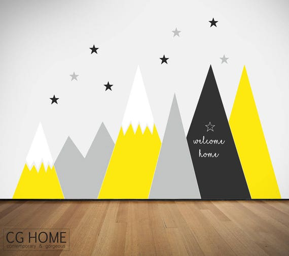 Mountains Wall Decal Self Adhesive Removable Custom Chalkboard Sticker Protection Covering Mural Personalized Washable Nursery #mountains005