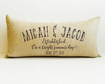 anniversary gifts, gift for her, cotton anniversary gift, 2nd anniversary, name pillow, date pillow, personalized pillow, decorative throw
