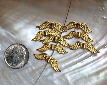 8 pcs Angel Wings, Gold Tone, 23mmx6mm