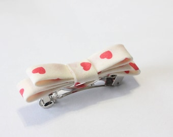Beige cotton fabric hairclip red heart