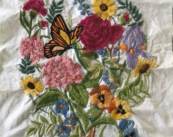 Crewel Embroidered Fabric Piece/ Vintage Crewel Embroidered Fabric/