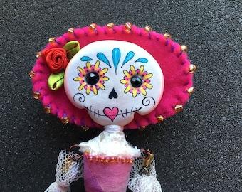 Estrella - a handmade Day of the Dead, Sugar Skull art doll