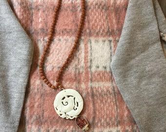 Necklace Meditation Beads with White Jade and Quartz Pendant