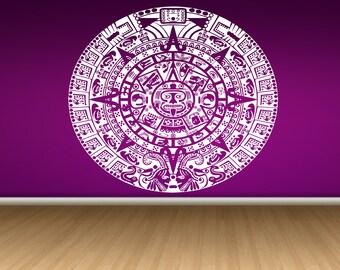 Wall  Vinyl Sticker Mural Tribal Mayan Calendar Aztec God Sun Moon Animals Year Date Room Decor Art ZX155