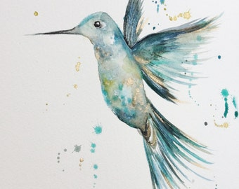Hummingbird teals and gold mixed media painting, Puddle Paints, hummingbird artwork, hummingbird painting, lounge decor, prints, watercolour