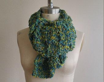 Green / Gold Multi Colour Yarn Seed Stitch Scarf