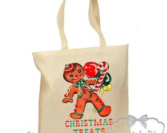 "Christmas Tote Bag - Gingerbread Man Bag - ""Christmas Treats"" -  Retro Gift Canvas  Christmas Gift Tote - Vintage Candy Bag - 2 Sizes"