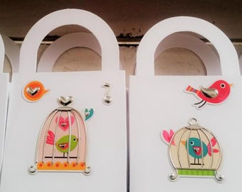 12 Birdcage keepsake gift boxes - birds theme/bird party favour boxes - birdcage/birds table decor - baby shower - birdie birthday favours