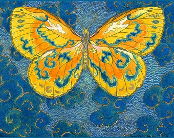 Fine Art Greeting Card, Papillon D'Esprit, Yellow, Spirit Butterfly, Hand Made Archival Reproduction of an original watercolor etching.
