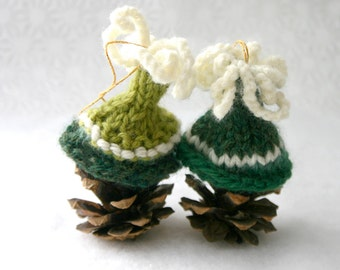2 Green Miniature Hats- Ornaments- Egg Cozies- Tiny Caps- Bell Shaped- Dark Green, Lime Green