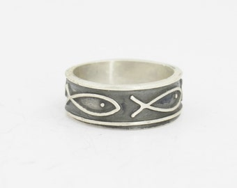 Men's Oxidized Silver Fish Band  Size 6 to 13