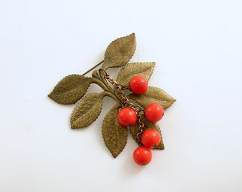 Vintage Brooch Leaves Cherry Red Beads