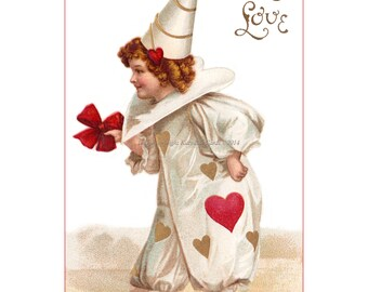 Clapsaddle Valentine Clown in White Repro Greeting Card