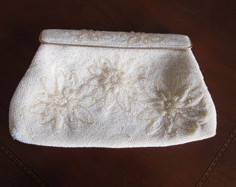 Mid Century Vintage White Seed Beaded Clutch Bag