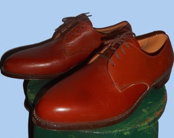 Vintage 1950' Copper Penny Brown Leather Shoes, Oxford Men's 13.5 E Rock-a-billy/Dress