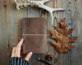 Leather traveler's notebook, natural leather travelers notebook, Midori journal, diary, anniversary gift, present