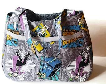 Dr.Who Handmade Tote Bag - Custom Made Tote Bag - Handmade Shoulder Bag - Handcrafted Purse - Whovian Handbag Tote - Geeky Girl Tote