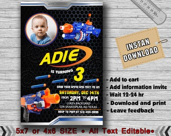 Nerf Invitation, Nerf Birthday, Nerf Birthday Invitation, Nerf Party, Nerf Invite, Nerf Party Invite, Nerf Birthday Party, Nerf-F1233