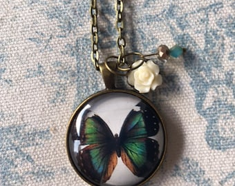 Vintage ephemera shabby chic blue Butterfly glass pendant NECKLACE in ANTIQUE BRASS