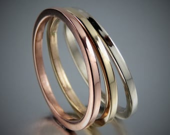 SOLID 14K Tri Color Gold Ring Set, Square Wire Ring Set, 14K Solid Rose Gold, Yellow Gold and White Gold Ring Set of 3, Wedding Rings