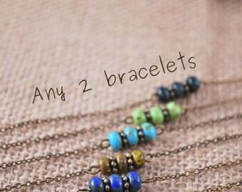 Set of 2 bracelets, minimalist beaded bracelets, delicate thin tiny bracelet, bridesmaid gift jewelry