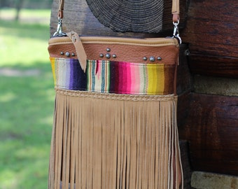 Serape and fringe crossbody purse